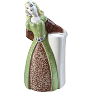 1940s Weil Ware Figural Woman Vase w/ Sgraffito Dress