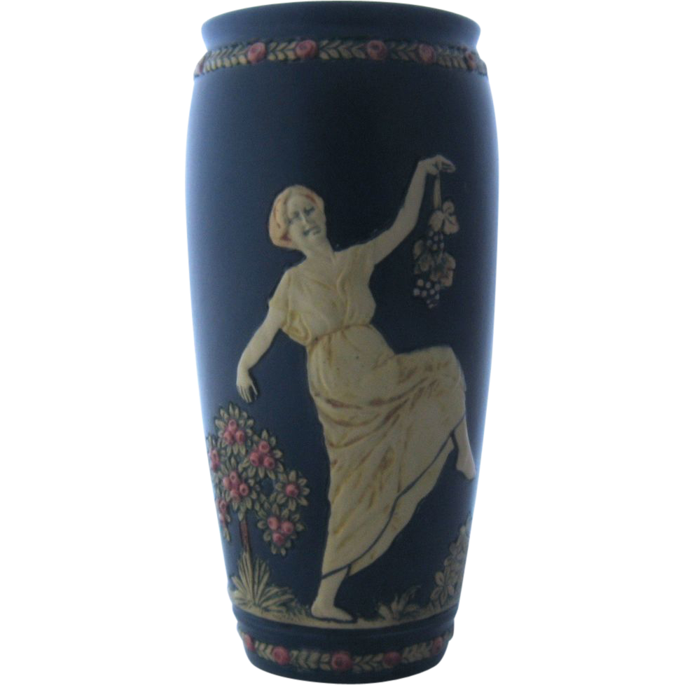 Weller Blue Ware Vase Classical Grecian Women 2 Scenes 10 Inches