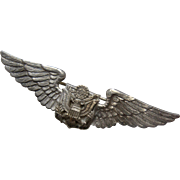 """Rare WWII U.S. Air Corps Military Sterling Eagle Pin 2 3/4"""""""