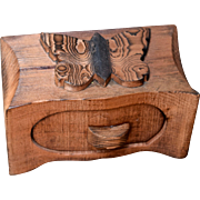 Artist Made Carved Wood Butterfly Trinket Box
