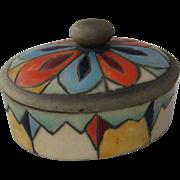 Xochiquetzal Polychrome Deco Ceramic Covered Box 1930s