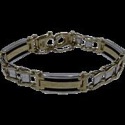 "W&Y 14K Gold Onyx Railroad Link & Bar Bracelet 7 1/4"""