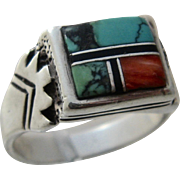 Vintage Navajo/Zuni Sterling Multi Stone Inlay Ring Sz 11 1/4