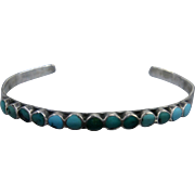 Vintage Zuni Sterling Turquoise Inlay Cuff Bracelet Size 6