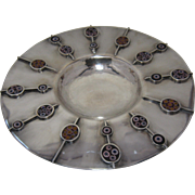 1970s Studio Artist Sterling Tray/Bowl Millefiori inset Glass