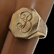 "1940s 10K Gold Signet ""B"" Ring ESEMCo Sz 6 1/2"