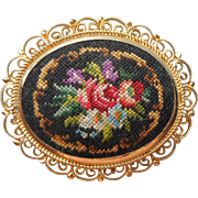 Vintage 1960s Pin Petit Point Hand Embroidery Brooch Filigree Frame