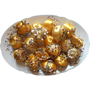 Christmas Ornaments Beads Sequins Vintage 1970s TLC Golden Yellow