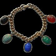 Scarabs Bracelet Vintage Glass Dangles