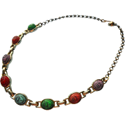 Scarab Necklace Vintage Choker Unusual Colors