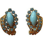 Vintage Earrings Opaque Blue Glass Marquise Cabochons Rhinestones