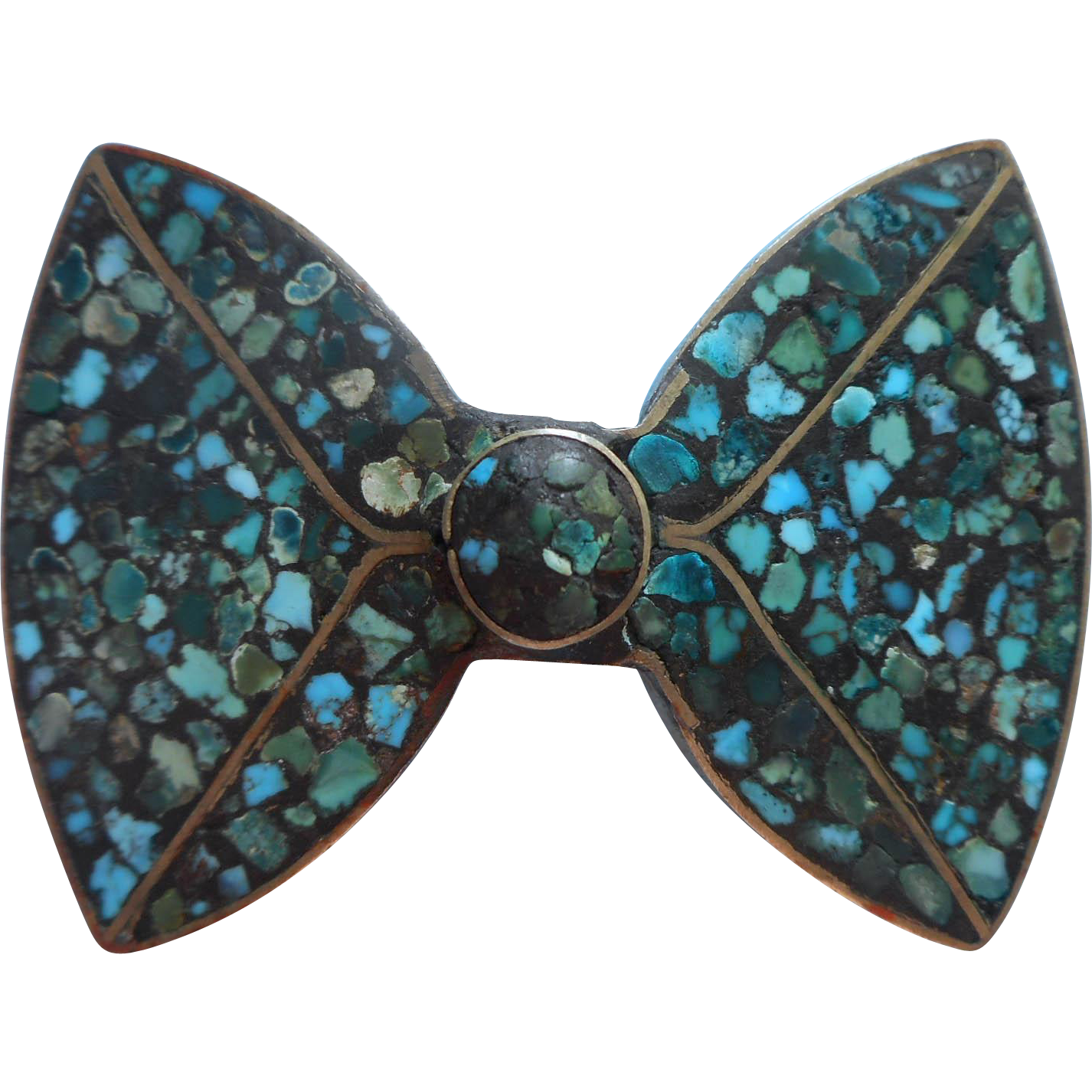 Vintage Pin Bow Form India Turquoise Color Glass Inlaid Mosaic