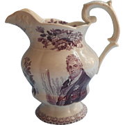 1830 Purple Transferware Royal Commemorative  Jug King William IV Antique Goodwin Bridgewood Harris