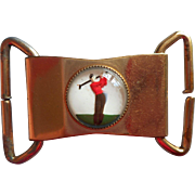 1930s Buckle Golfer Reverse Painted Essex Glass Golf Vintage