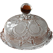 Round Butter Dish Antique EAPG Pressed Glass Petite