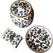 Cloisonne Enamel Smoking Set Vintage Black White Jar Dish Matchbox Cover