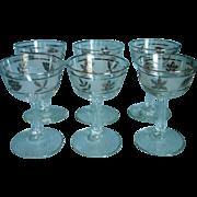 MCM Cocktail Glasses Libbey Silver Leaf Vintage Glass Barware