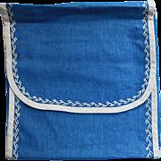 Napkin Case Antique 1910s Blue w White Featherstitching