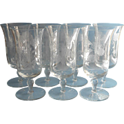 Iced Tea Goblets Footed Engraved Glasses Vintage Set 7 Stemware Large