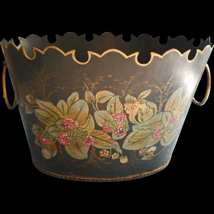 tole cachepot hand panted vintage metal black gold pink green sold on ruby lane. Black Bedroom Furniture Sets. Home Design Ideas
