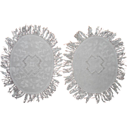 Pair Damask Fringed Doilies Antique Linen Unused Oval