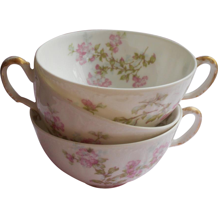 Haviland Limoges China Cups Only Antique Pink Apple