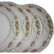 Pink Roses Dessert Plates Antique China
