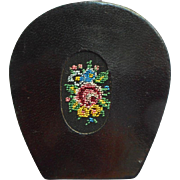 Petit Point Leather Manicure Purse Kit Vintage German