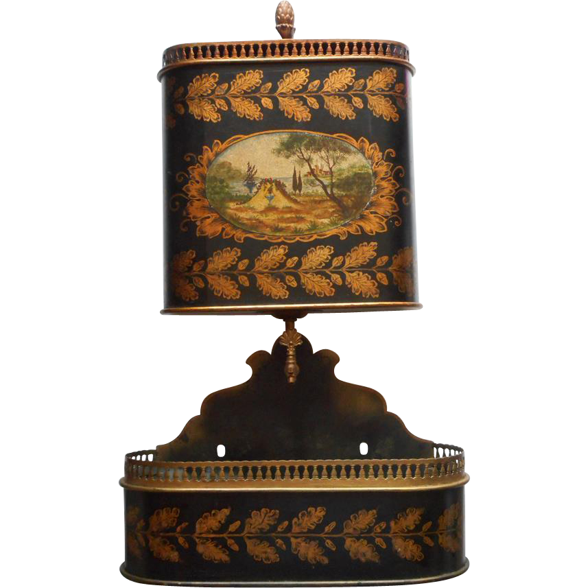 tole lavabo vintage italy set metal decoupage cistern black gold from rubylane sold on ruby lane. Black Bedroom Furniture Sets. Home Design Ideas