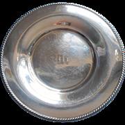 Monogram M Silver Salver Vintage Plated Shabby Elegant