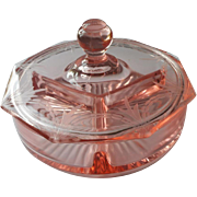 Depression Era Pink Glass Divided Dish Lid Vintage Vanity Relish