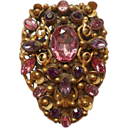 Art Deco Vintage Pink Purple Rhinestones Filigree Brooch