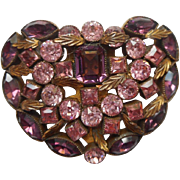 Art Deco Dress Clip Purple Orchid Pink Rhinestones Vintage