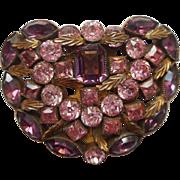 Art Deco Dress Clip Purple Orchid Pink Rhinestones Vintage
