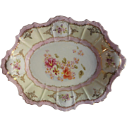 Prettiest Pink Gold China Serving Bowl Antique Hand Painted TLC