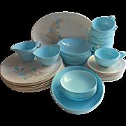 Melamine Melmac Oneida Set Turquoise Blue Dinnerware Vintage MCM