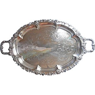 BIG Silver Tray Oval Antique Art Nouveau Grapes Handles Tea