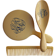 Celluloid Set Brush Comb Mirror Monogram A O C Antique Vanity 1910s