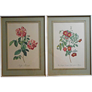 Roses Prints Pair Framed Vintage Pink Green Cream Painted Wood Frames - Red Tag Sale Item