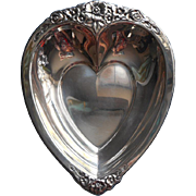 Silver Heart Shape Dish Candy Nuts w Flowers Vintage