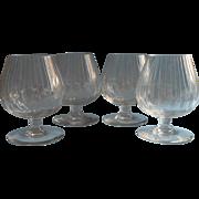 Brandy Glasses Set 4 Vintage Cut and Engraved Glass