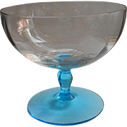1920s Compote Glass Celeste Blue Pedestal Clear Vintage