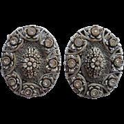 Grisaille Vintage Plastic Earrings Rhinestones Molded Plastic