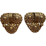 Dress Clips Vintage Pair Brass Filigree Vintage 1930s