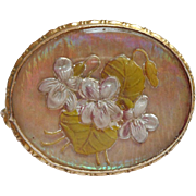 Reverse Painted Glass Brass Pin Vintage Violets Late 1910s early 1920s