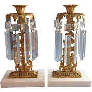 Cherubs Girandoles Pair Antique Gilt Marble Prisms Candlesticks Victorian
