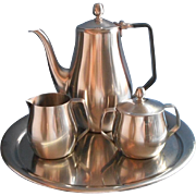 Vintage Stainless Steel Coffee Set Tray Reed Barton Pot Creamer Sugar