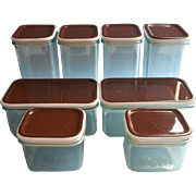 1970s Rosti Mepal Storage Containers Large Set Brown Lids UNUSED