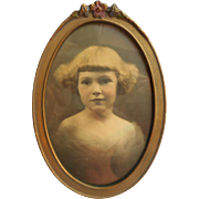 1920s Gesso Wood Photo Picture Frame Flowers Oval