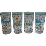 MCM Turquoise Blue Gold Highball Glasses Horses Woman Warriors